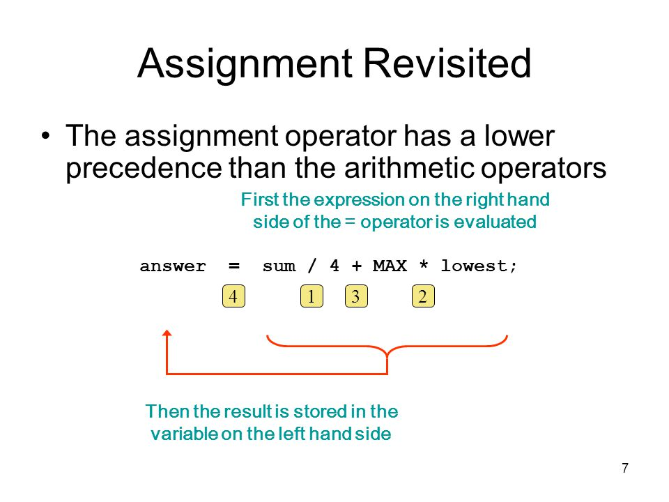 7 Assignment Revisited The assignment operator has a lower precedence than the arithmetic operators First the expression on the right hand side of the = operator is evaluated Then the result is stored in the variable on the left hand side answer = sum / 4 + MAX * lowest; 1432