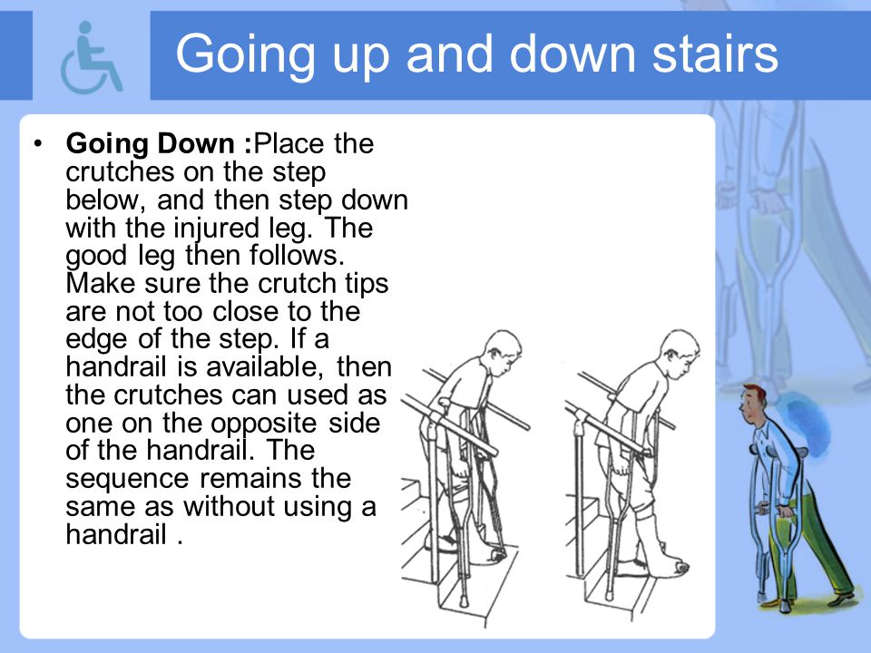 Going up and down stairs Going Down: Place the crutches on the step below, and then step down with the injured leg.