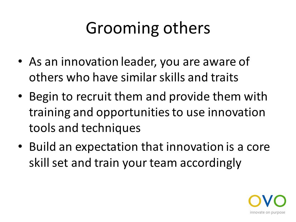 Grooming others As an innovation leader, you are aware of others who have similar skills and traits Begin to recruit them and provide them with training and opportunities to use innovation tools and techniques Build an expectation that innovation is a core skill set and train your team accordingly