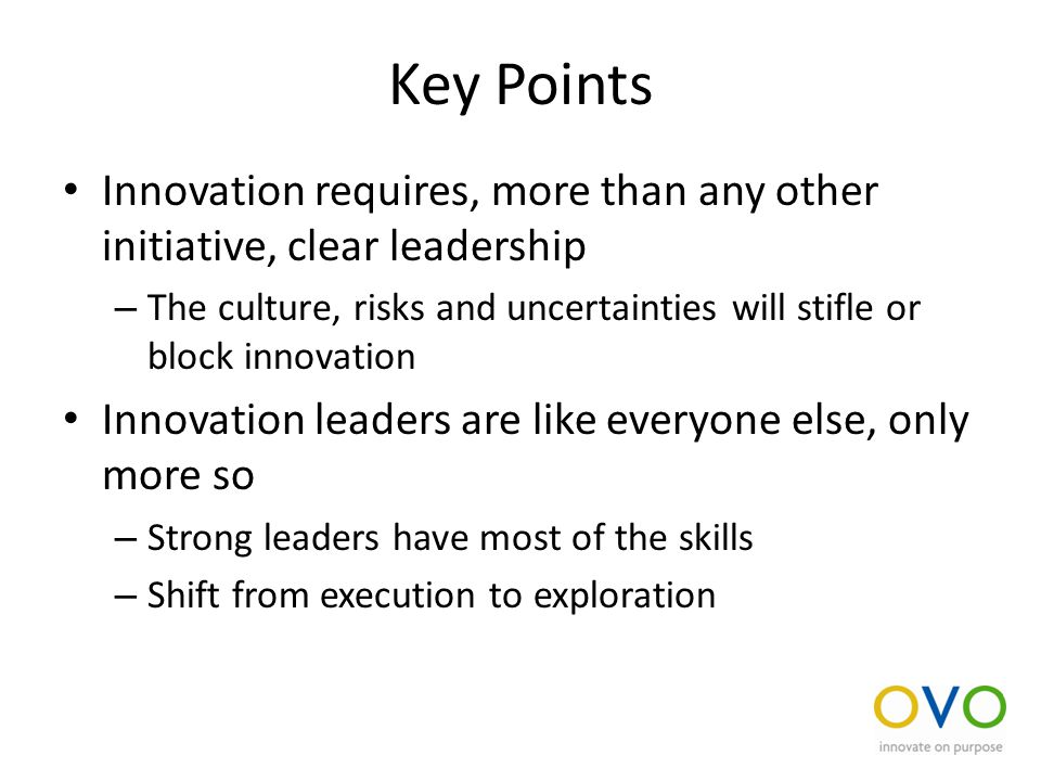 Key Points Innovation requires, more than any other initiative, clear leadership – The culture, risks and uncertainties will stifle or block innovation Innovation leaders are like everyone else, only more so – Strong leaders have most of the skills – Shift from execution to exploration
