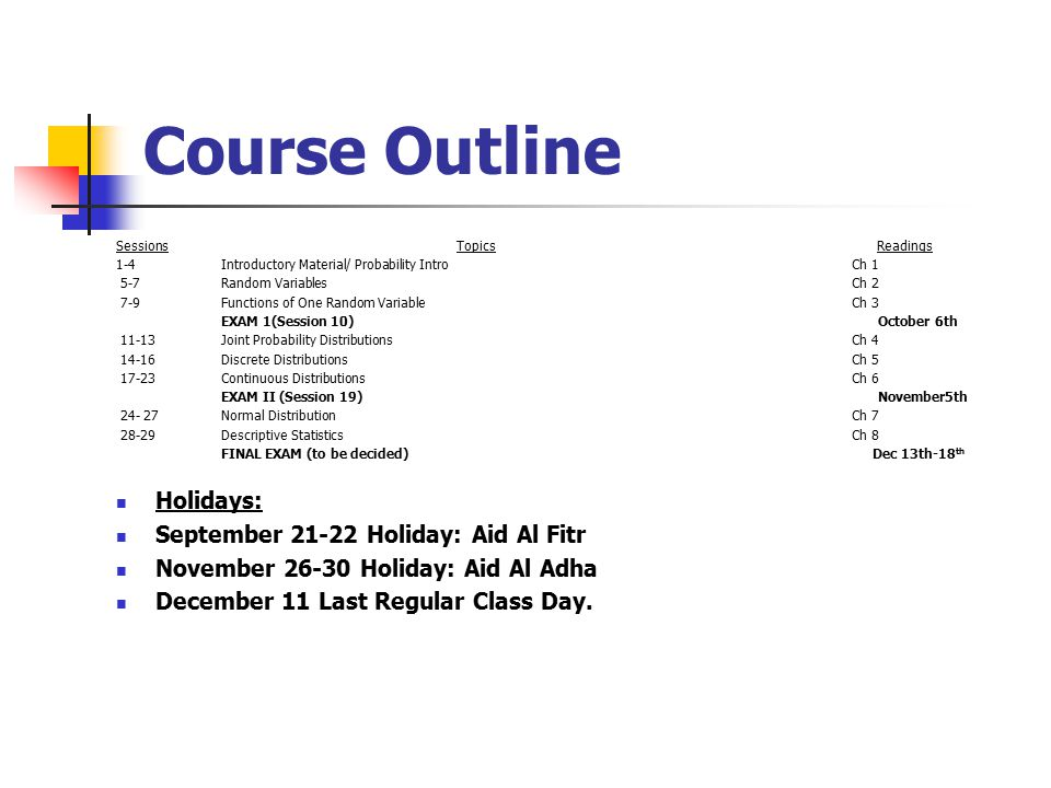 Course Outline Sessions Topics Readings 1-4 Introductory Material/ Probability IntroCh 1 5-7Random VariablesCh 2 7-9Functions of One Random VariableCh 3 EXAM 1(Session 10) October 6th 11-13Joint Probability DistributionsCh Discrete DistributionsCh Continuous DistributionsCh 6 EXAM II (Session 19) November5th Normal DistributionCh Descriptive StatisticsCh 8 FINAL EXAM (to be decided) Dec 13th-18 th Holidays: September Holiday: Aid Al Fitr November Holiday: Aid Al Adha December 11 Last Regular Class Day.
