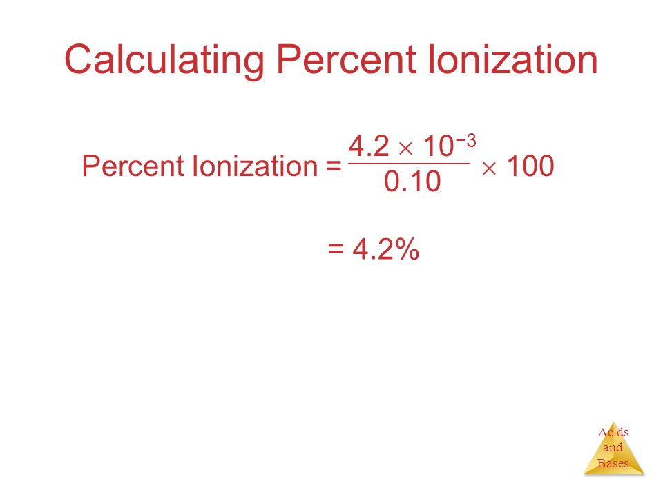 Acids and Bases Calculating Percent Ionization Percent Ionization =   10 − = 4.2%