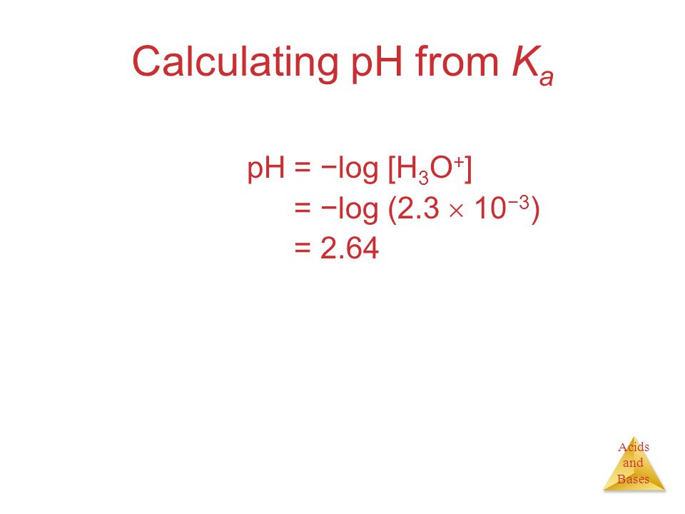 Acids and Bases Calculating pH from K a pH = −log [H 3 O + ] pH = −log (2.3  10 −3 ) pH = 2.64