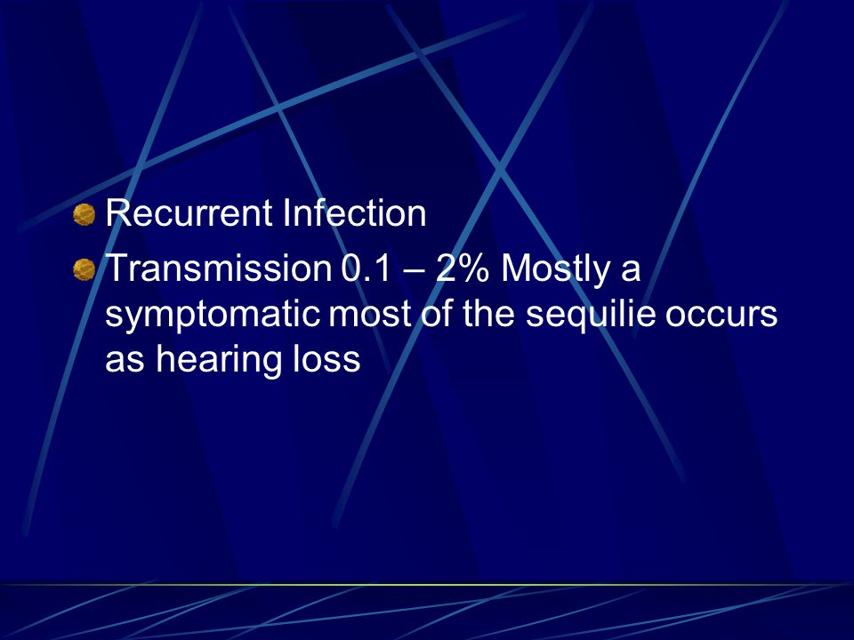 Recurrent Infection Transmission 0.1 – 2% Mostly a symptomatic most of the sequilie occurs as hearing loss