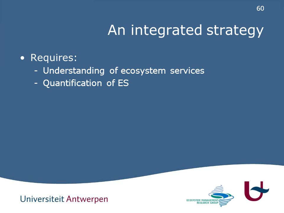 60 An integrated strategy Requires: -Understanding of ecosystem services -Quantification of ES