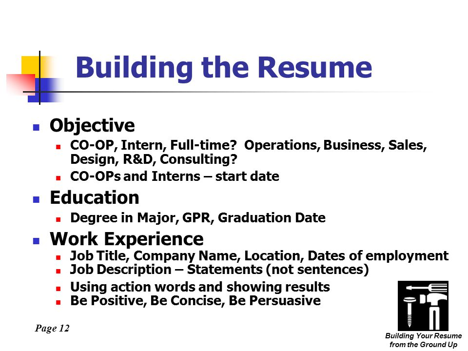 Page 12 Building Your Resume from the Ground Up Building the Resume Objective CO-OP, Intern, Full-time.