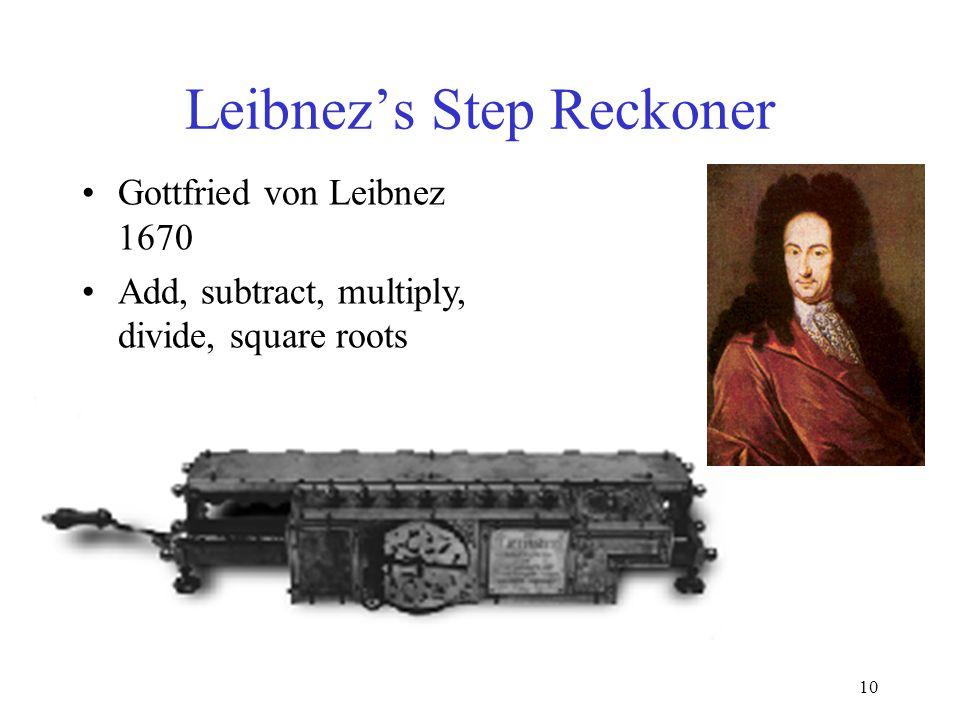 10 Leibnez's Step Reckoner Gottfried von Leibnez 1670 Add, subtract, multiply, divide, square roots