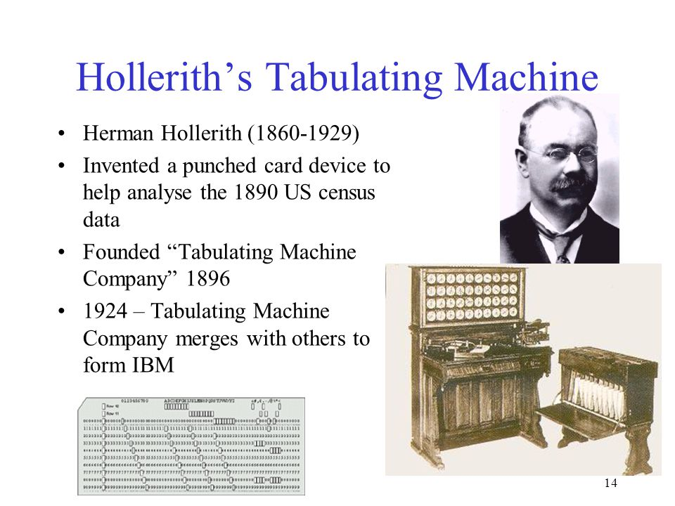 14 Hollerith's Tabulating Machine Herman Hollerith (1860-1929) Invented a punched card device to help analyse the 1890 US census data Founded Tabulating Machine Company 1896 1924 – Tabulating Machine Company merges with others to form IBM