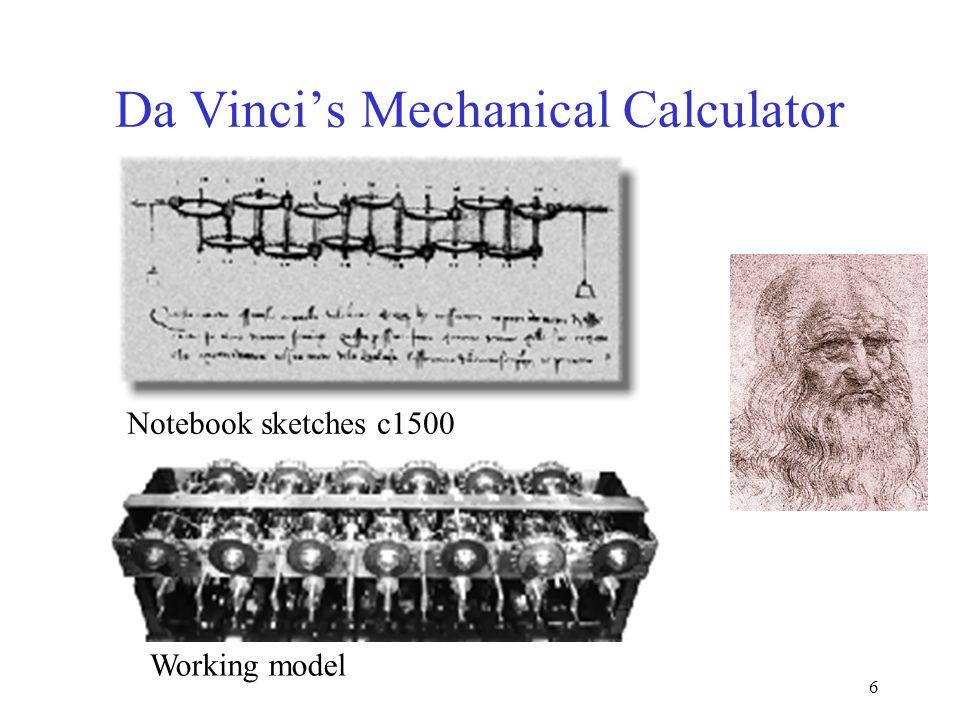 6 Da Vinci's Mechanical Calculator Notebook sketches c1500 Working model