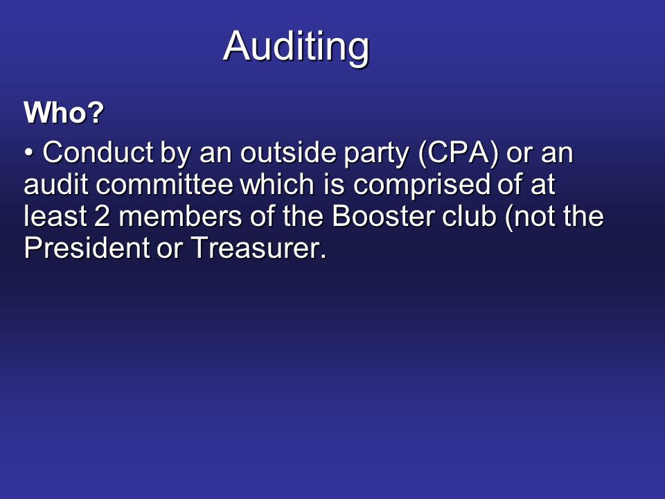 Auditing Who.