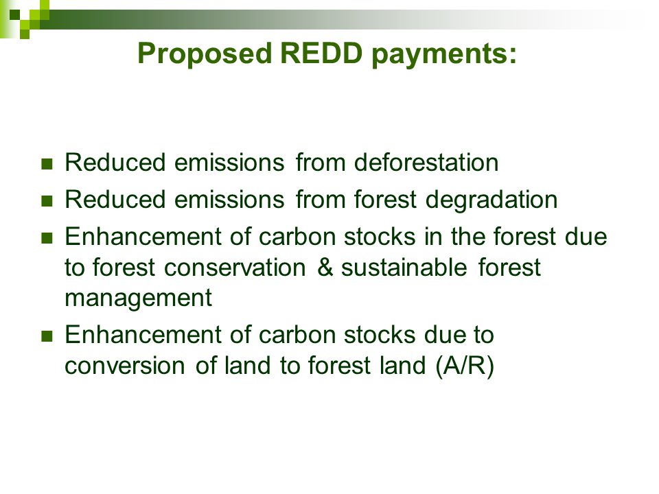 Proposed REDD payments: Reduced emissions from deforestation Reduced emissions from forest degradation Enhancement of carbon stocks in the forest due to forest conservation & sustainable forest management Enhancement of carbon stocks due to conversion of land to forest land (A/R)