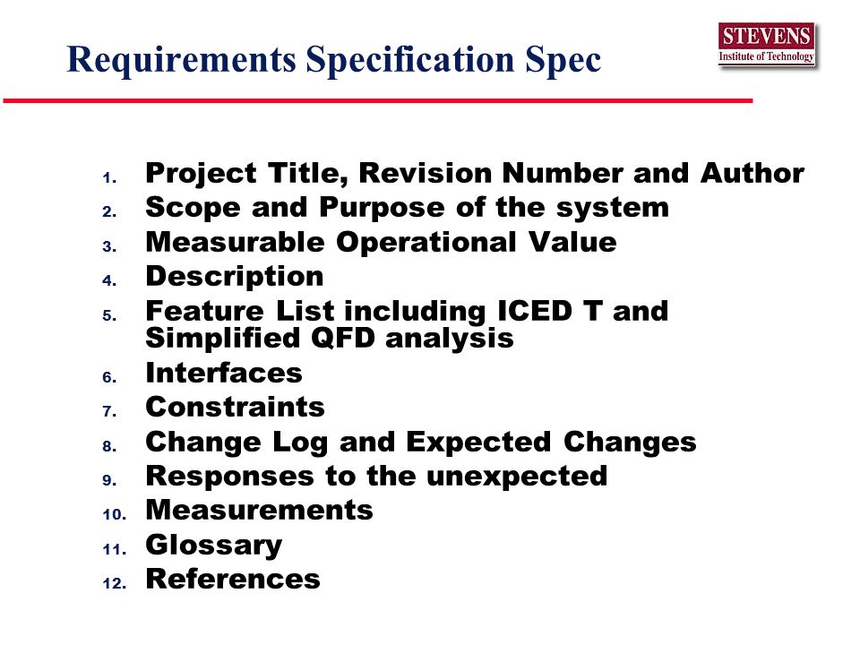 Requirements Specification Spec 1. Project Title, Revision Number and Author 2.
