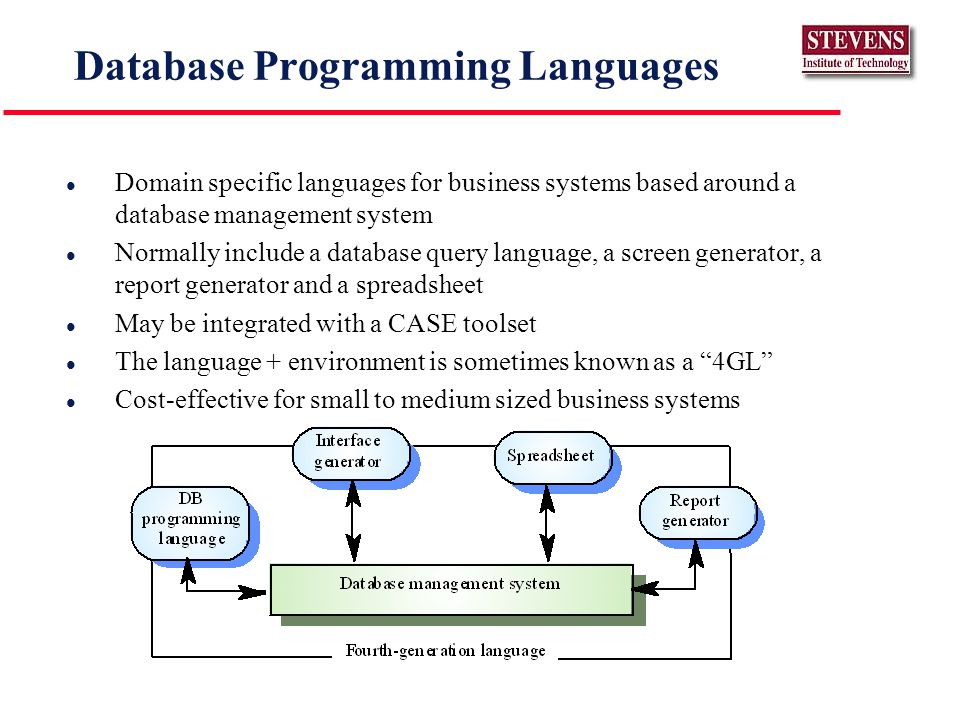 Database Programming Languages l Domain specific languages for business systems based around a database management system l Normally include a database query language, a screen generator, a report generator and a spreadsheet l May be integrated with a CASE toolset l The language + environment is sometimes known as a 4GL l Cost-effective for small to medium sized business systems