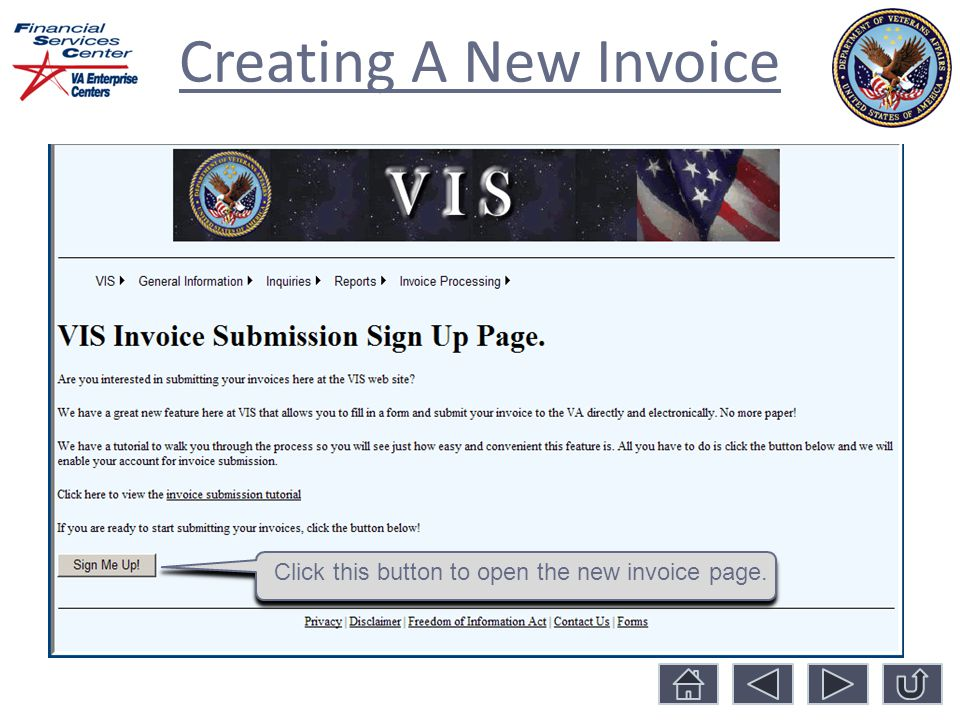 Creating A New Invoice Click this button to open the new invoice page.