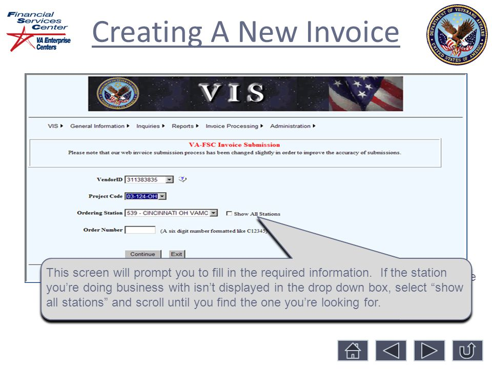 Creating A New Invoice Once you select your vendor/tax ID number, select the project code you're billing under from the drop-down box.