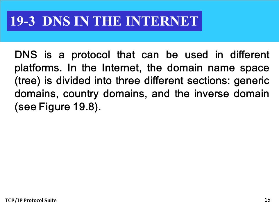 TCP/IP Protocol Suite DNS IN THE INTERNET DNS is a protocol that can be used in different platforms.