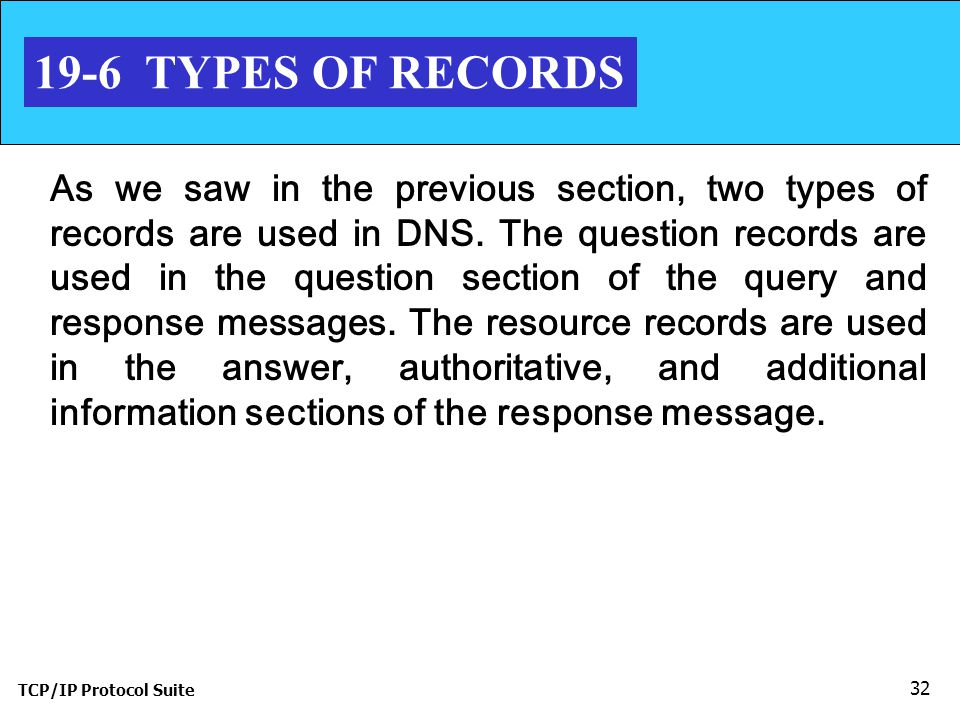 TCP/IP Protocol Suite TYPES OF RECORDS As we saw in the previous section, two types of records are used in DNS.