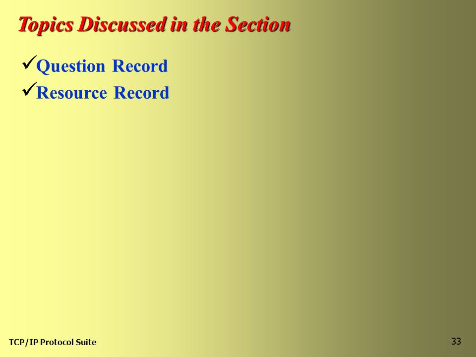 TCP/IP Protocol Suite 33 Topics Discussed in the Section Question Record Resource Record