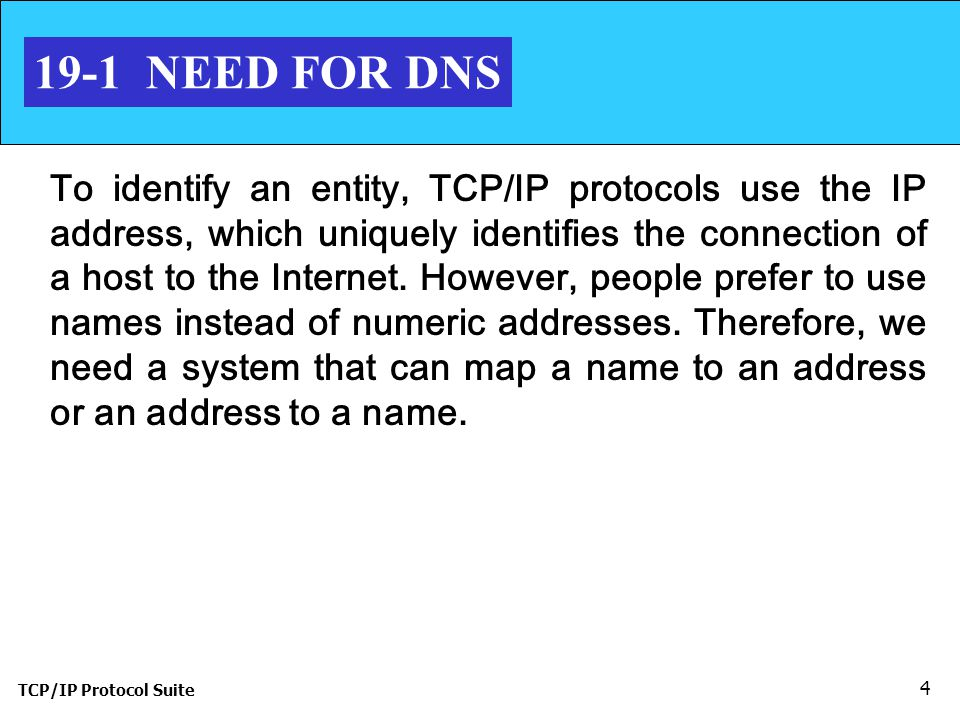 TCP/IP Protocol Suite NEED FOR DNS To identify an entity, TCP/IP protocols use the IP address, which uniquely identifies the connection of a host to the Internet.