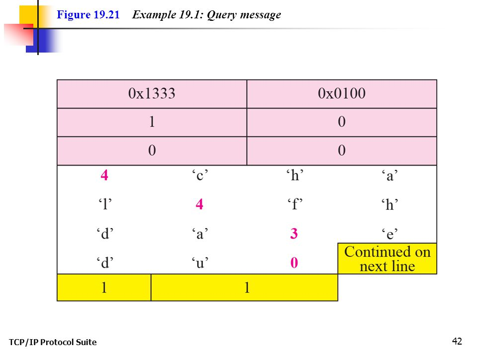TCP/IP Protocol Suite 42 Figure Example 19.1: Query message