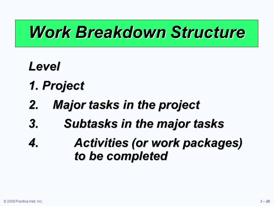 © 2008 Prentice Hall, Inc.3 – 28 Work Breakdown Structure Level 1.Project 2.Major tasks in the project 3.Subtasks in the major tasks 4.Activities (or work packages) to be completed