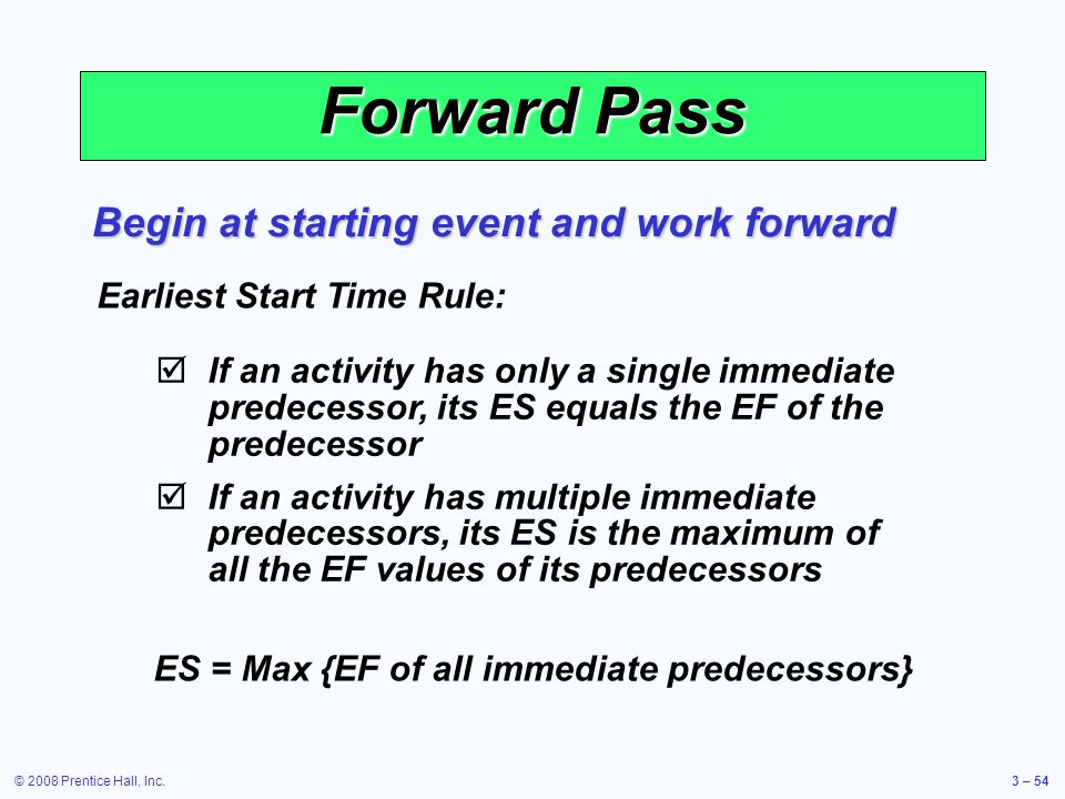 © 2008 Prentice Hall, Inc.3 – 54 Forward Pass Begin at starting event and work forward Earliest Start Time Rule:  If an activity has only a single immediate predecessor, its ES equals the EF of the predecessor  If an activity has multiple immediate predecessors, its ES is the maximum of all the EF values of its predecessors ES = Max {EF of all immediate predecessors}