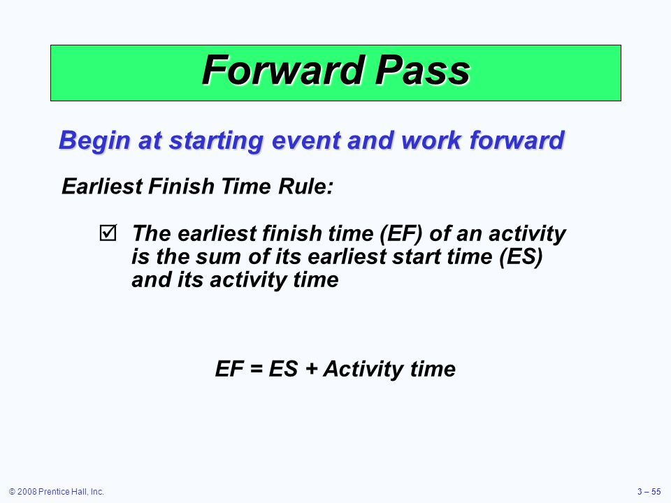 © 2008 Prentice Hall, Inc.3 – 55 Forward Pass Begin at starting event and work forward Earliest Finish Time Rule:  The earliest finish time (EF) of an activity is the sum of its earliest start time (ES) and its activity time EF = ES + Activity time