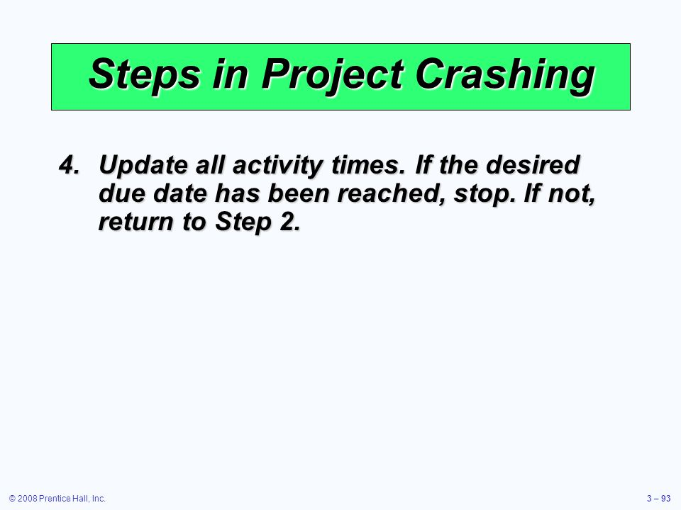 © 2008 Prentice Hall, Inc.3 – 93 Steps in Project Crashing 4.Update all activity times.