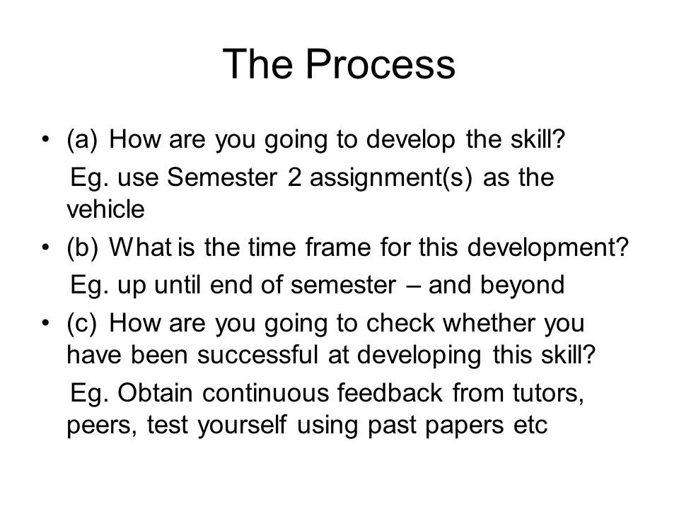 The Process (a)How are you going to develop the skill.