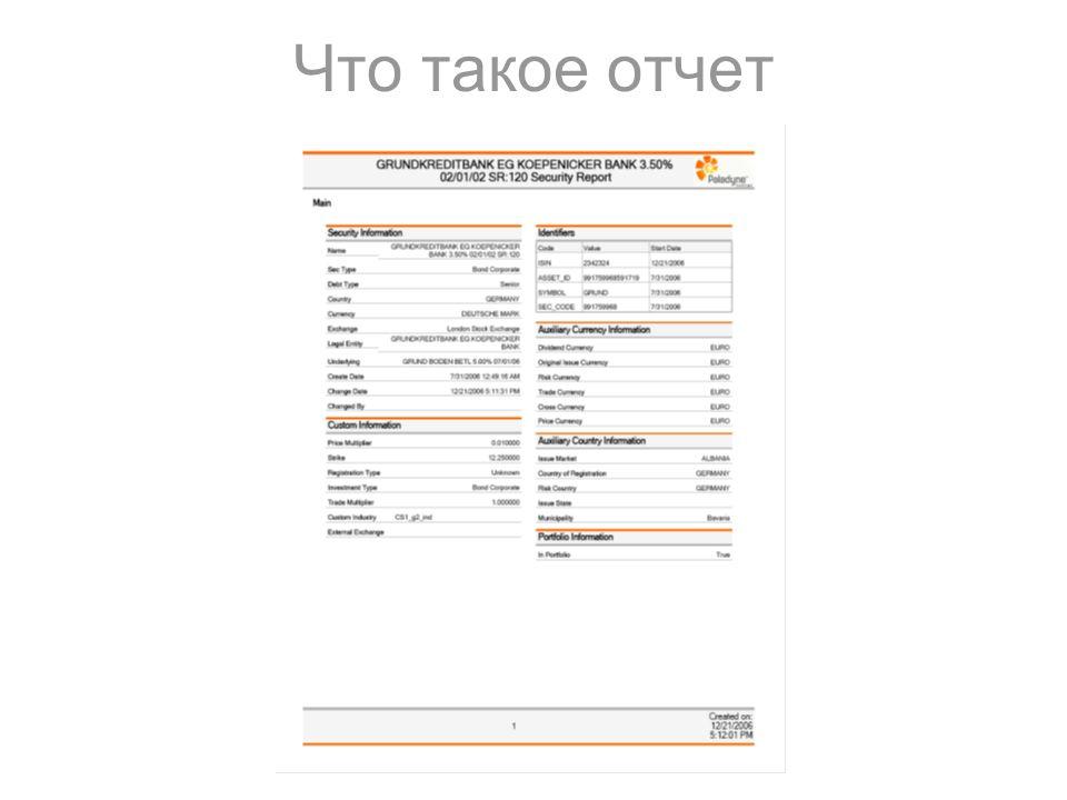 Универсальная интеграция технологии построения отчетов в семейство  net приложений Презентация дипломной работы Порсева Анатолия 2 Что такое отчет
