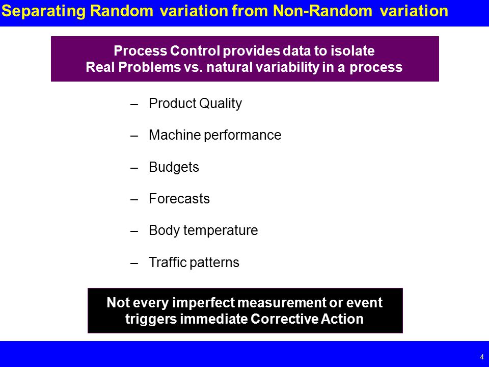 Page 4 4 Separating Random variation from Non-Random variation –Product Quality –Machine performance –Budgets –Forecasts –Body temperature –Traffic patterns Process Control provides data to isolate Real Problems vs.