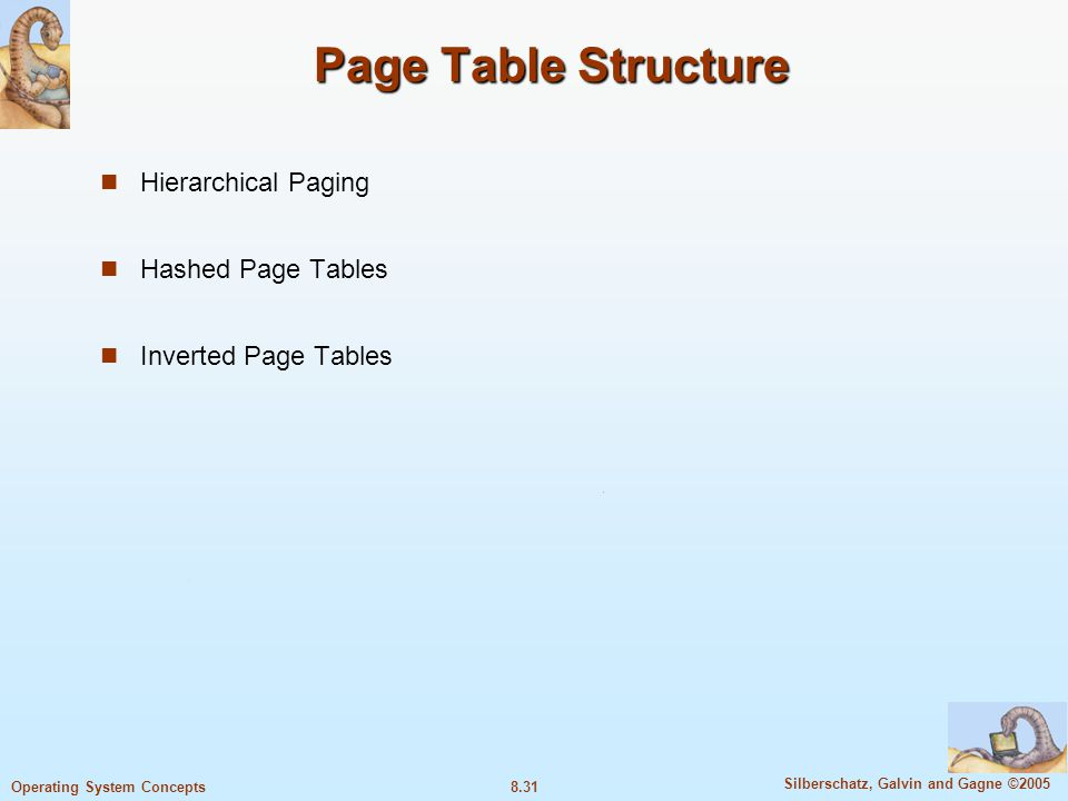 8.31 Silberschatz, Galvin and Gagne ©2005 Operating System Concepts Page Table Structure Hierarchical Paging Hashed Page Tables Inverted Page Tables
