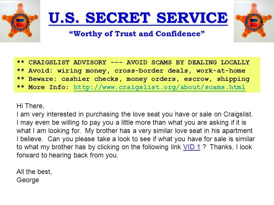 u s secret service u201cworthy of trust and confidence u201d scams rh slideplayer com Companies That Wire Money Companies That Wire Money