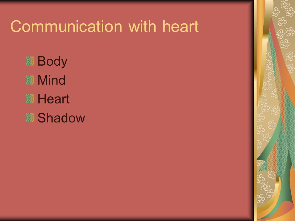 Communication with heart Body Mind Heart Shadow