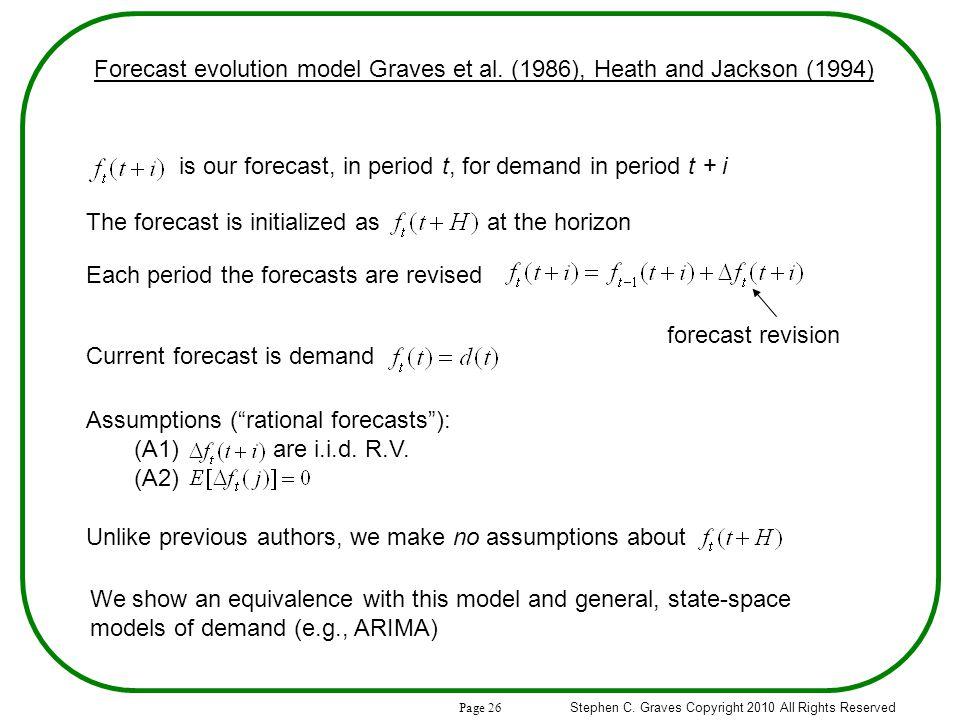 Page 26 Stephen C. Graves Copyright 2010 All Rights Reserved Forecast evolution model Graves et al.