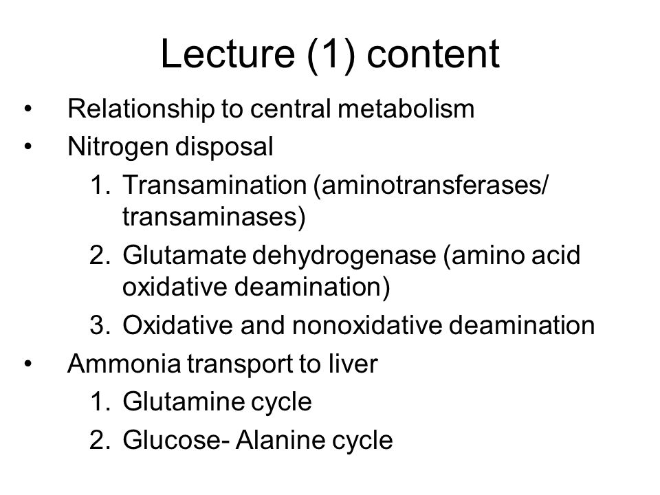 Lecture (1) content Relationship to central metabolism Nitrogen disposal 1.Transamination (aminotransferases/ transaminases) 2.Glutamate dehydrogenase (amino acid oxidative deamination) 3.Oxidative and nonoxidative deamination Ammonia transport to liver 1.Glutamine cycle 2.Glucose- Alanine cycle