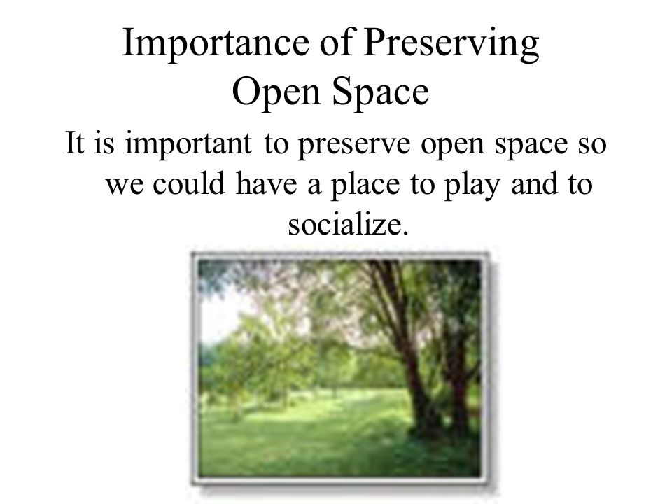 Importance of Preserving Open Space It is important to preserve open space so we could have a place to play and to socialize.