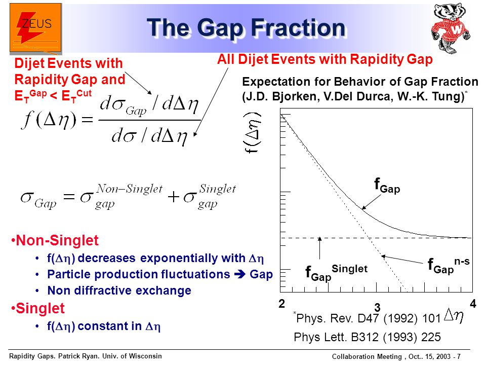 Rapidity Gaps. Patrick Ryan. Univ. of Wisconsin Collaboration Meeting, Oct..