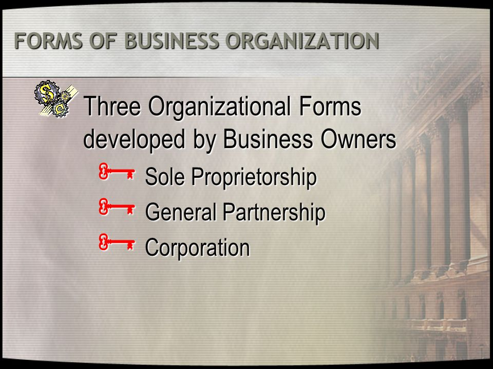FORMS OF BUSINESS ORGANIZATION Three Organizational Forms developed by Business Owners  Sole Proprietorship  General Partnership  Corporation