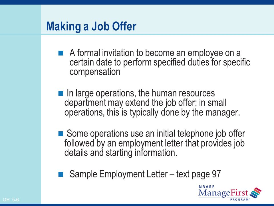 Oh 5 1 hiring and orienting new employees human resources management oh 5 6 making a job offer a formal invitation to become an employee on stopboris Images