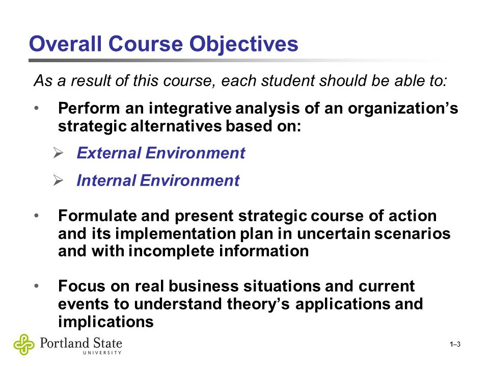 1–3 Overall Course Objectives As a result of this course, each student should be able to: Perform an integrative analysis of an organization's strategic alternatives based on:  External Environment  Internal Environment Formulate and present strategic course of action and its implementation plan in uncertain scenarios and with incomplete information Focus on real business situations and current events to understand theory's applications and implications