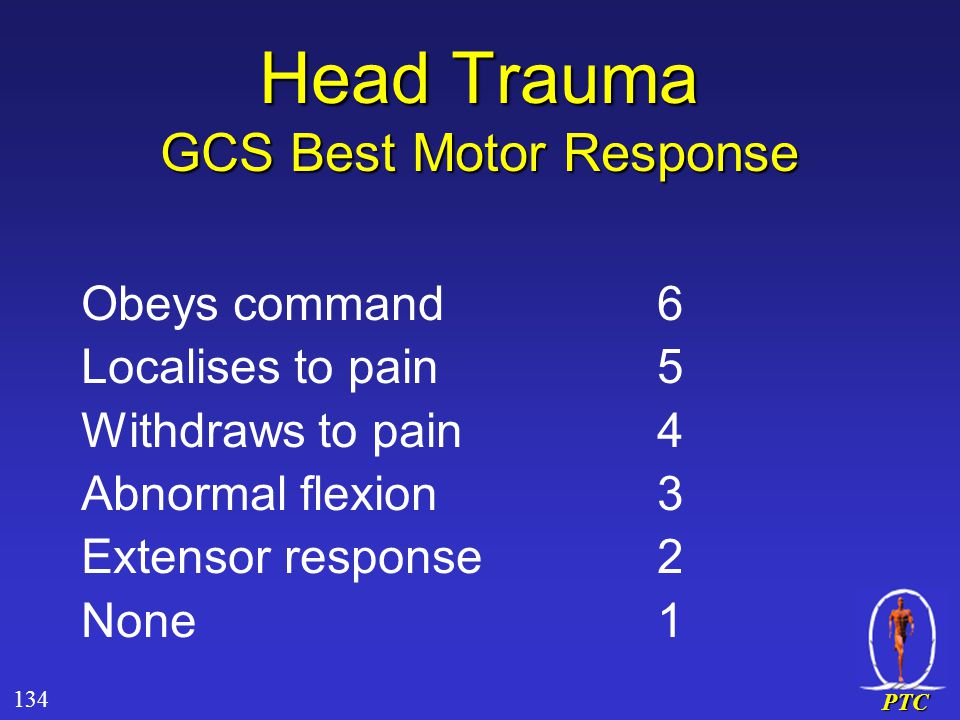 PTC Head Trauma GCS Best Motor Response Obeys command6 Localises to pain5 Withdraws to pain4 Abnormal flexion3 Extensor response2 None1 134