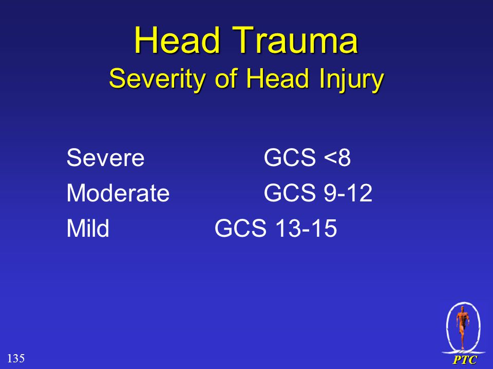 PTC Head Trauma Severity of Head Injury SevereGCS <8 ModerateGCS 9-12 MildGCS