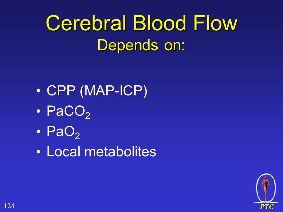PTC Cerebral Blood Flow Depends on: CPP (MAP-ICP) PaCO 2 PaO 2 Local metabolites 124