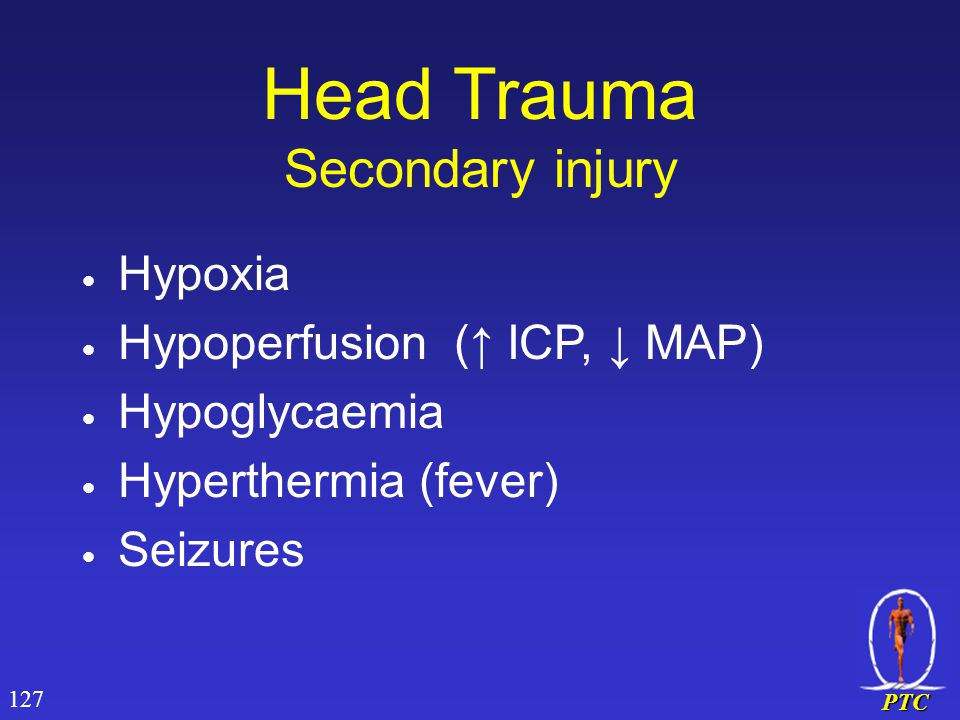 PTC Head Trauma Secondary injury  Hypoxia  Hypoperfusion (↑ ICP, ↓ MAP)  Hypoglycaemia  Hyperthermia (fever)  Seizures 127