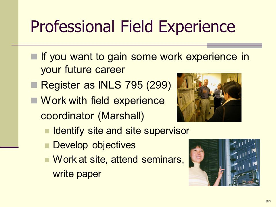 Professional Field Experience If you want to gain some work experience in your future career Register as INLS 795 (299) Work with field experience coordinator (Marshall) Identify site and site supervisor Develop objectives Work at site, attend seminars, write paper BW