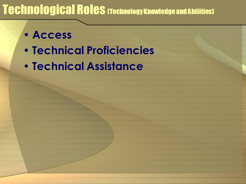 Technological Roles (Technology Knowledge and Abilities) Access Technical Proficiencies Technical Assistance