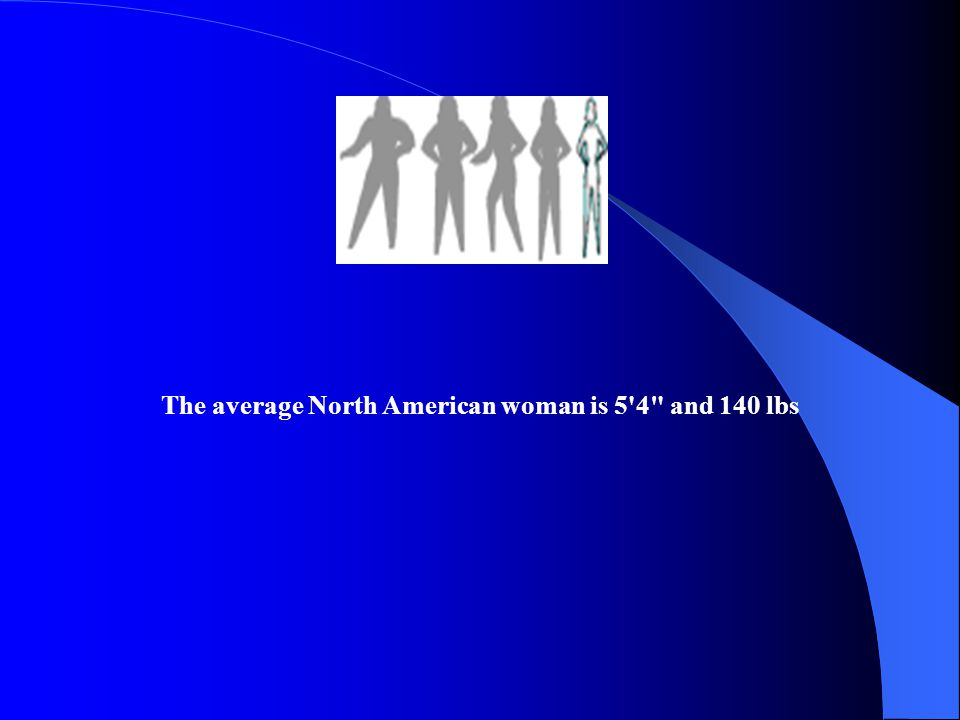 The average North American woman is 5 4 and 140 lbs