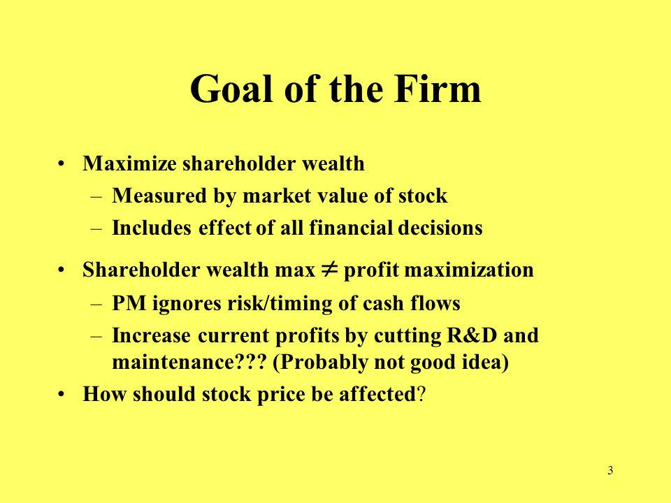 3 Goal of the Firm Maximize shareholder wealth –Measured by market value of stock –Includes effect of all financial decisions Shareholder wealth max  profit maximization –PM ignores risk/timing of cash flows –Increase current profits by cutting R&D and maintenance .
