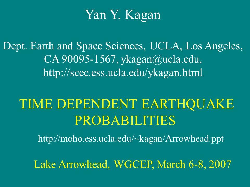 Yan Y. Kagan Dept.